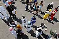Cosplayer summit for young anime and manga fans on the shore of the river Rhine, Japantag Japan Day, Duesseldorf, North Rhine_Westphalia, Germany, Eur...