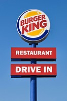 Sign with logo: Burger King, Restaurant, Drive In