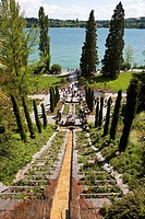Water staircase with cypresses, Mainau Island, Lake Constance, County Konstanz, Baden-Wuerttemberg, Germany, Europe