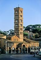 Campanile, Basilica of Santa Maria in Cosmedin, Piazza Bocca della Verità, Rome, Lazio, Italy, Europe