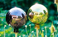 glass sphere, reflection of a garden in glass sphere, Germany