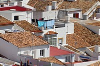 Roofs of the Pueblo Blanco, white village, of Olvera, Andalusia, Spain, Europe