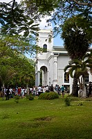 Participants in an Easter procession at the Cathedale Immaculée Conception on Oliver Maradan Street, capital Victoria, Mahe Island, Seychelles, Indian...