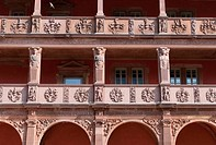 Isenburg Castle, renaissance facade with arcades, part of the campus of the University of Art and Design Offenbach HFG, Offenbach am Main, Hesse, Germ...