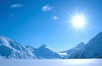 Portage glacier, in midday sun, USA, Alaska