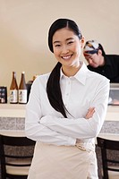 portrait of young japanese waitress