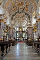 Interior view, Kloster Fuerstenfeld monastery, Fuerstenfeldbruck, Bavaria, Germany, Europe