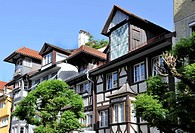 Half_timbered house in the city of Lindau on Lake Constance, Bavaria, Germany, Europe