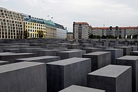 Holocaust Memorial, the Monument to the Murdered Jews of Europe is a field of 2,700 concrete slabs near the Brandenburg Gate, Berlin, Germany