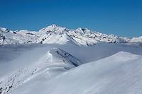View from Hochpalfennock to Hochalmspitze, Hohe Tauern mountain range, Carinthia, Austria, Europe