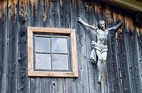Crucifix, mountain lodge in Dorfertal, Austria, Europe