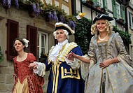 Life in the Baroque period of the 18th Century, gentleman with ladies, Schiller Jahrhundertfest century festival, Marbach am Neckar, Baden-Wuerttember...