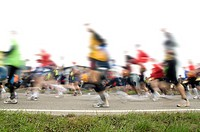 Marathon runners with motion blur