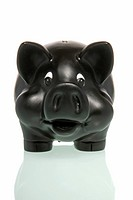 Black piggy bank, symbolic for Bad Bank