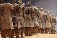 Rows of warriors at the Terra Cotta Army, Xi'an China