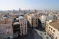 View over Plaza Fueros and the city from the city gates, Torres de Serranos, Valencia, Spain, Europe