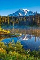 Mount Rainier at Sunrise, captured from Reflection Lakes Mount Rainier National Park, Washington state, U S A