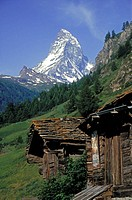 Matterhorn, snow covered mountain peak, Zermatt, Switzerland
