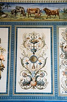 Painted tiles, Pfunds Molkerei, historic dairy shop, Neustadt district, Dresden, Saxony, Germany