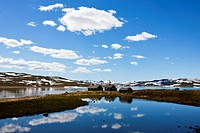 Mountain lake at Hardangerjokulen, Norway, Europe
