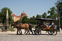 Horse carriage in front of moated castle Schloss Moritzburg, near Dresden, Saxony, Germany