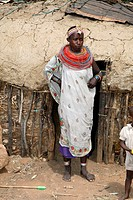 Samburu woman standing in front of her hut, Kenya, Samburu Np