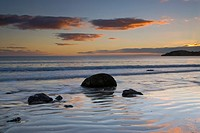 Moeraki Boulders at sunrise, New Zealand