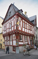 Half-timbered architecture on the Middle Rhine, Teehaeusje, Little Tea House, built in 1519, Boppard, Rhineland-Palatinate, Germany, Europe