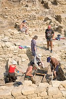 Archaeology students doing excavation work at the old Greek settlement of Tyras, Tira, in front of the walls of the Akkerman fortress, in Bilhorod_Dni...