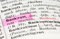 Marked word in lexicon, symbolic picture for banking crisis