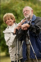 Nordic walking, senior couple