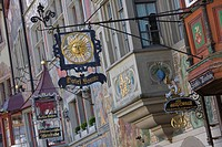 Sign of the Hotel Sonne, Hotel Sun, with painted house fronts, Town Hall square, Stein am Rhein, Lake Constance, Canton Schaffhausen, Switzerland