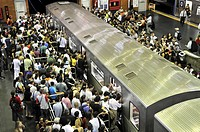 Rush hour, commuters in the metro, Sao Paulo, Brazil, South America