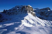 Aerial picture, Sella group, Sella Pass, Dolomites, Bolzano_Bozen, Italy