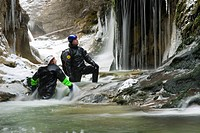 Canyoning in winter in the Haselschlucht gorge in the Kalkalpen National Park, Upper Austria