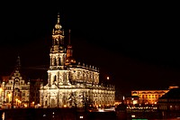 Katholische Hofkirche, Catholic Court Church at night, Dresden, Saxony, Germany, Europe