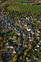 Aerial photograph, monastery, various street, An der Kreuzkapelle, Annastrasse, Hagener Strasse, Drolshagen, Sauerland, North Rhine-Westphalia, German...