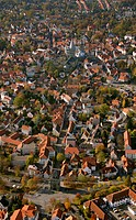 Aerial photo, Osthofentor Gate on the old city wall, Soest, Kreist Soest, Soester Boerde, South Westphalia, North Rhine_Westphalia, Germany, Europa
