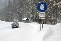 Traffic sign, snow chains obligatory, Kaiserau, Admont, Styria, Austria