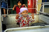 child on pickup car, Nepal, Annapurna