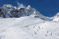 Skiing slope, deep powder snow on Mt Hasenfluh near Zuers, Vorarlberg, Austria