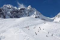 Skiing slope, deep powder snow on Mt Hasenfluh near Zuers, Vorarlberg, Austria