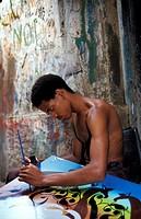 Tingatinga painter, Tanzania, Sansibar, Stone Town