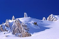skiing in Les Arcs ski resort, France, Savoie Alps, Tarentaise