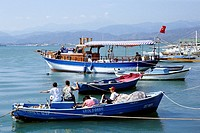 Fishery, children on a fishing boat in the port of Fethiye, Mugla Province, Mediterranean Sea, Turkey
