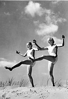Historic photo, women doing gymnastics, ca. 1940