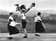 Historic photograph, Bavarians dancing, Bavaria, Germany, ca. 1930