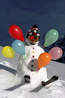 snowman with air ballons, France, Alps