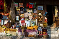 Souvenir shop in bazaar in Kruja Albania Europe