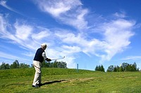 Golfer at the Ruka golfcourse, Finland, Oulu, Kuusamo